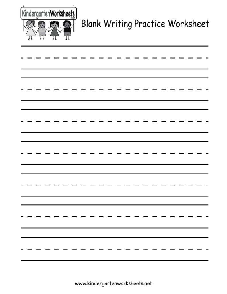 Blank Writing Practice Worksheet   Free Kindergarten Englis