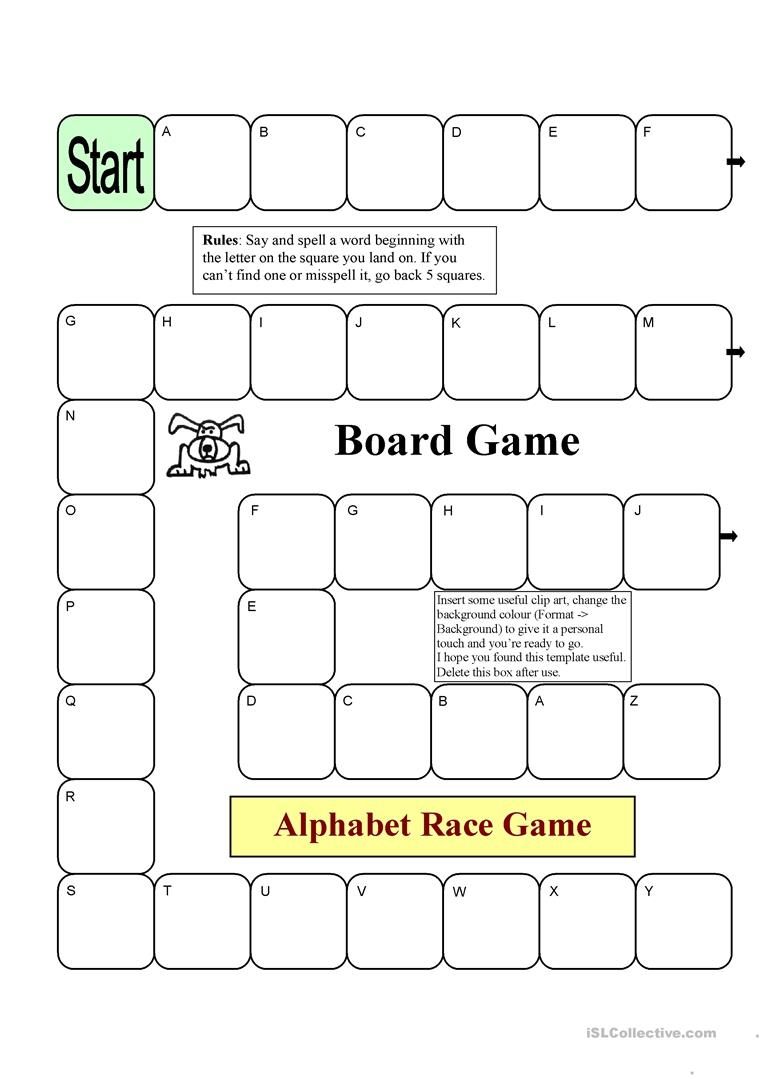 Board Game - Alphabet Race - English Esl Worksheets For within Alphabet Game Worksheets