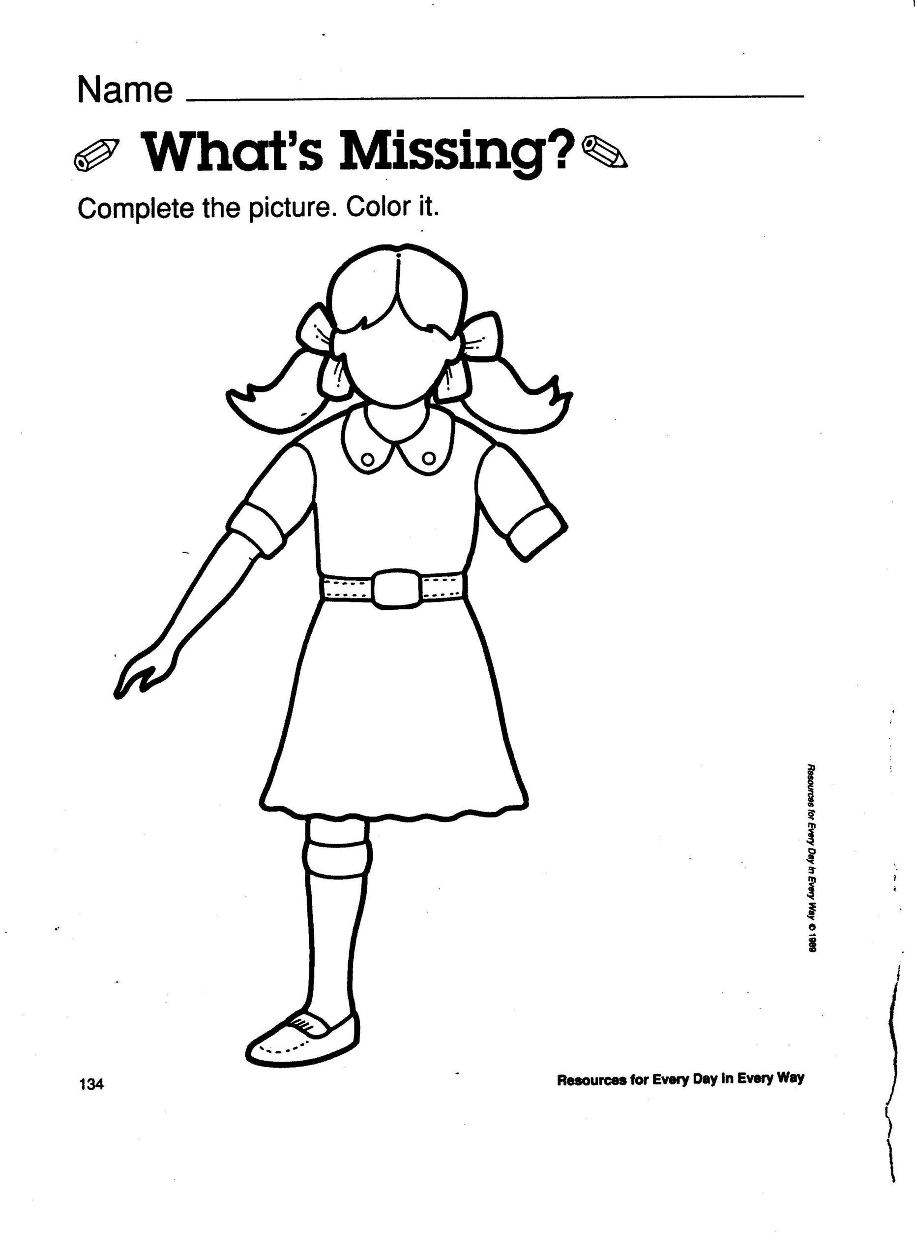 Body Awareness What Part Is Missing Worksheet | Kindergarten