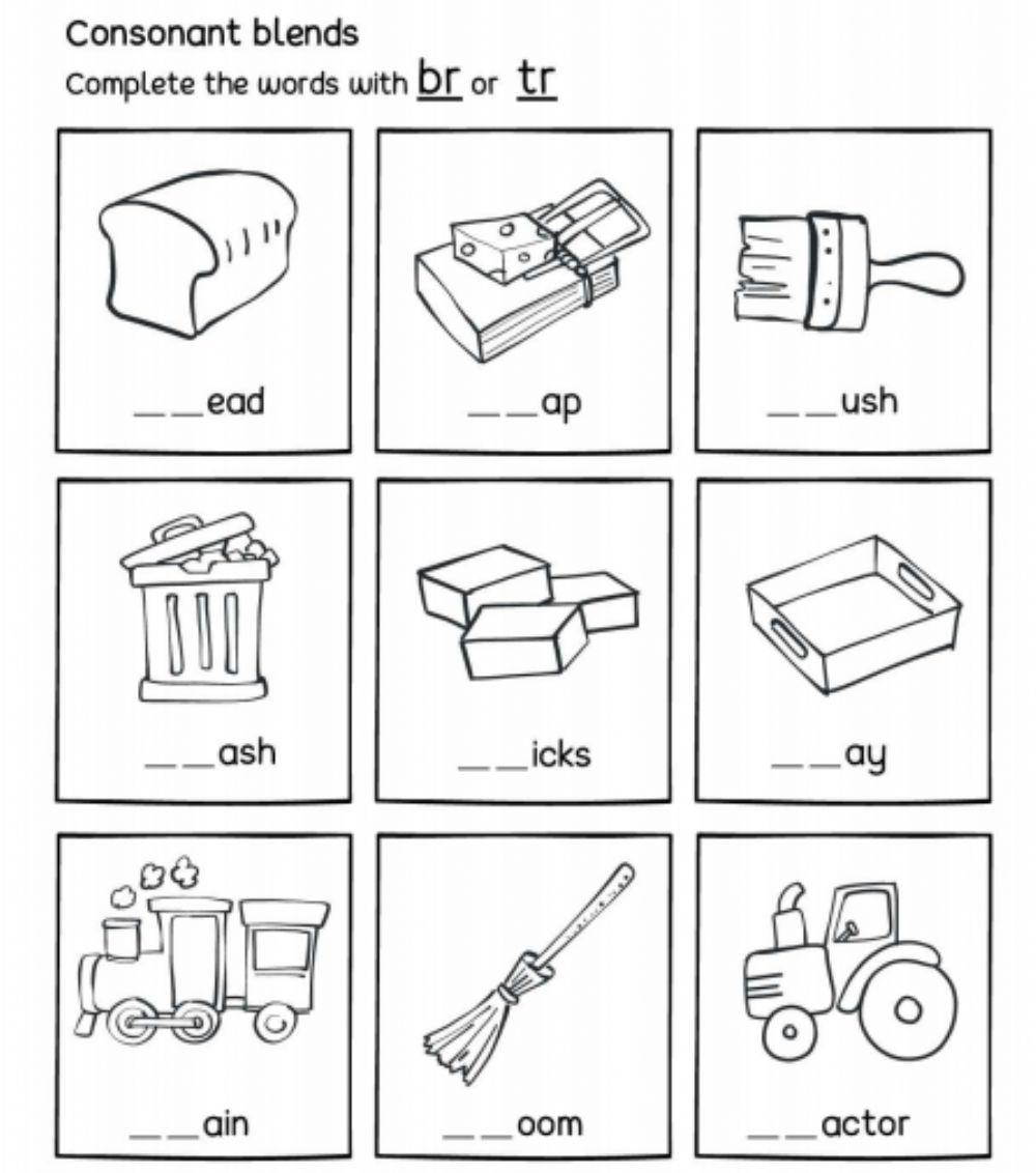 Br Or Tr - R Consonant Blends - Interactive Worksheet with regard to Letter Blends Worksheets