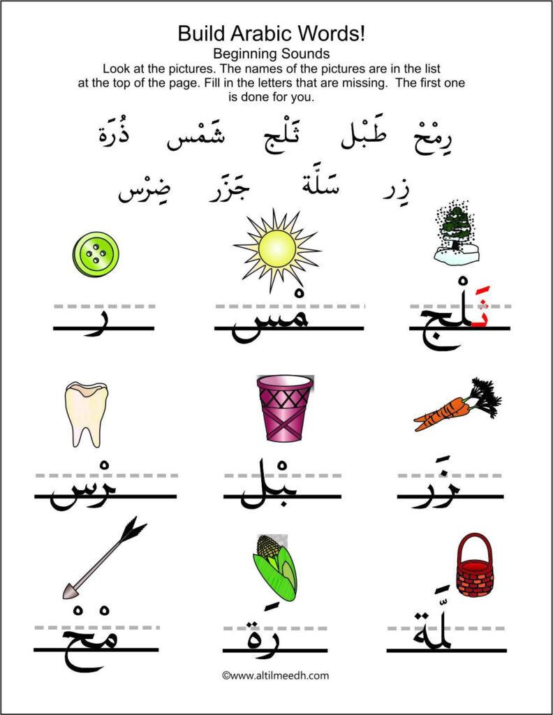 Build Arabic Words Worksheet Set | Arabic Alphabet For Kids