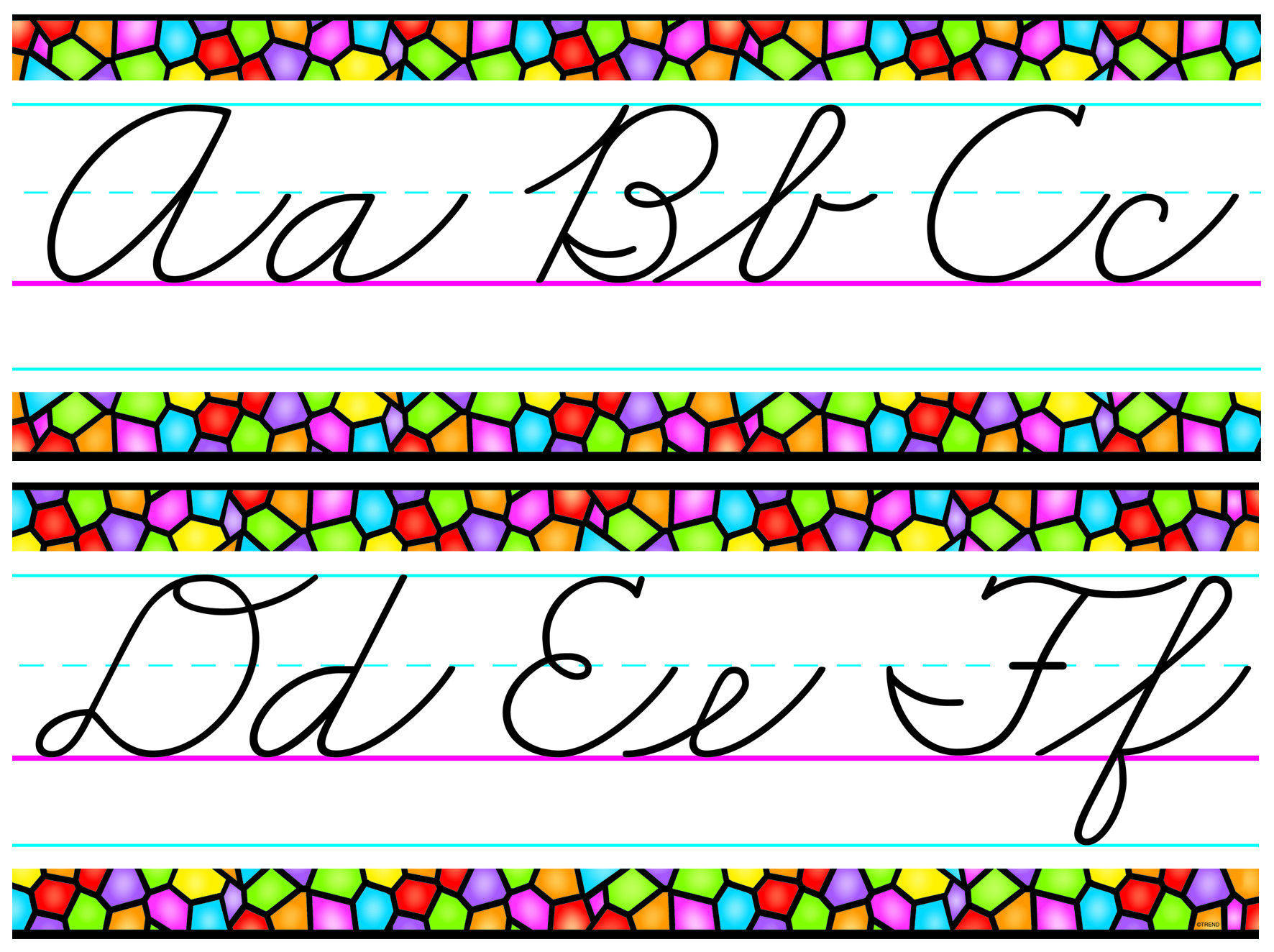 Bulletin Board Set - Stained Glass Cursive Alphabet 1
