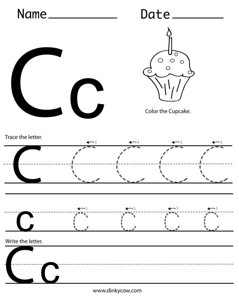 C Free Handwriting Worksheet Print (2400×2988