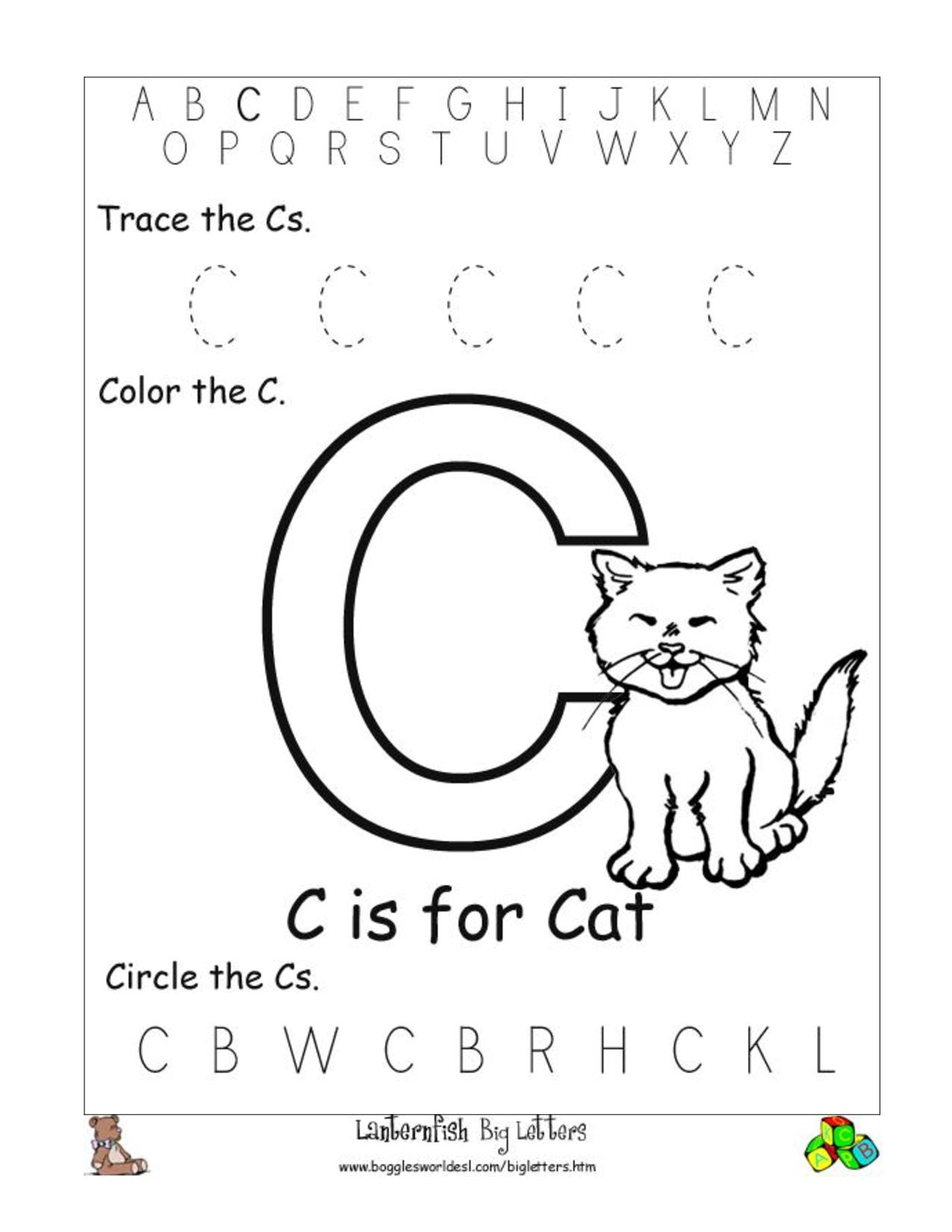 C Preschool Worksheets | Letter C Worksheets | Preschool within Letter C Worksheets For 3 Year Olds