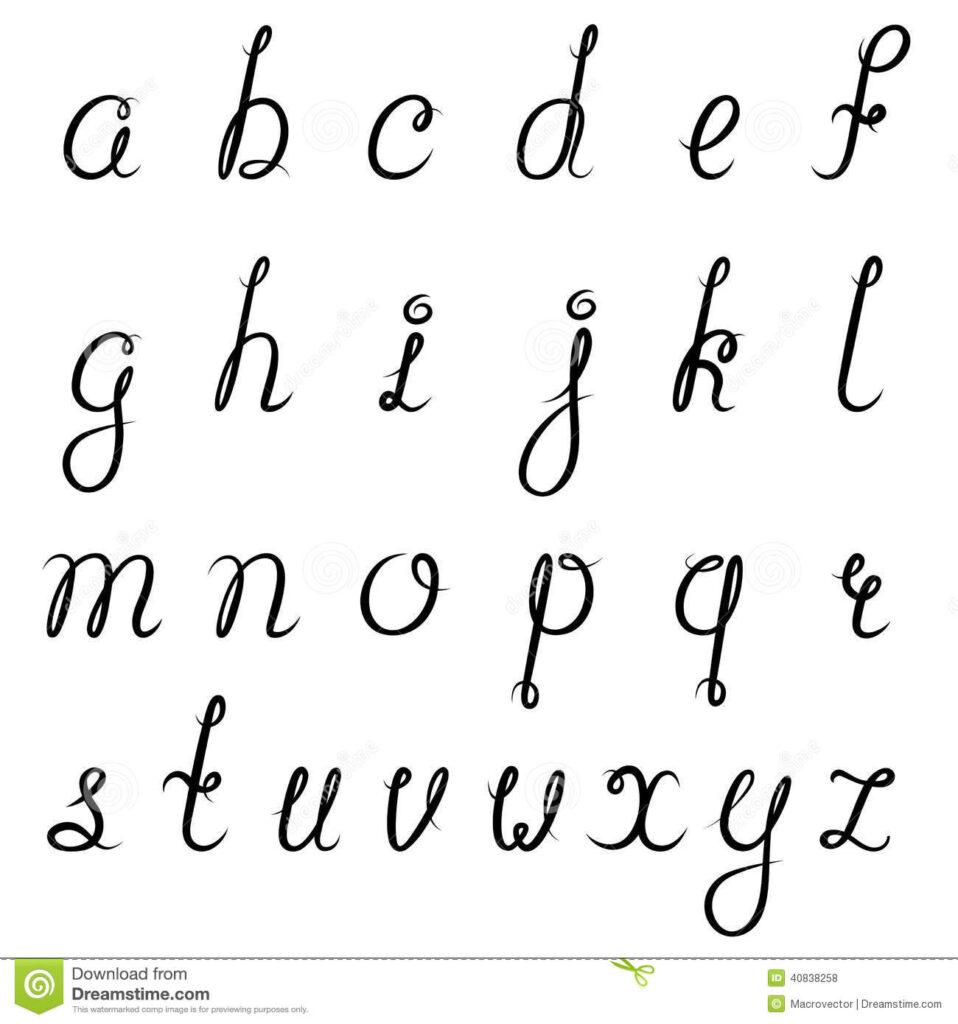 Calligraphy Alphabet Black Stock Vector. Illustration Of