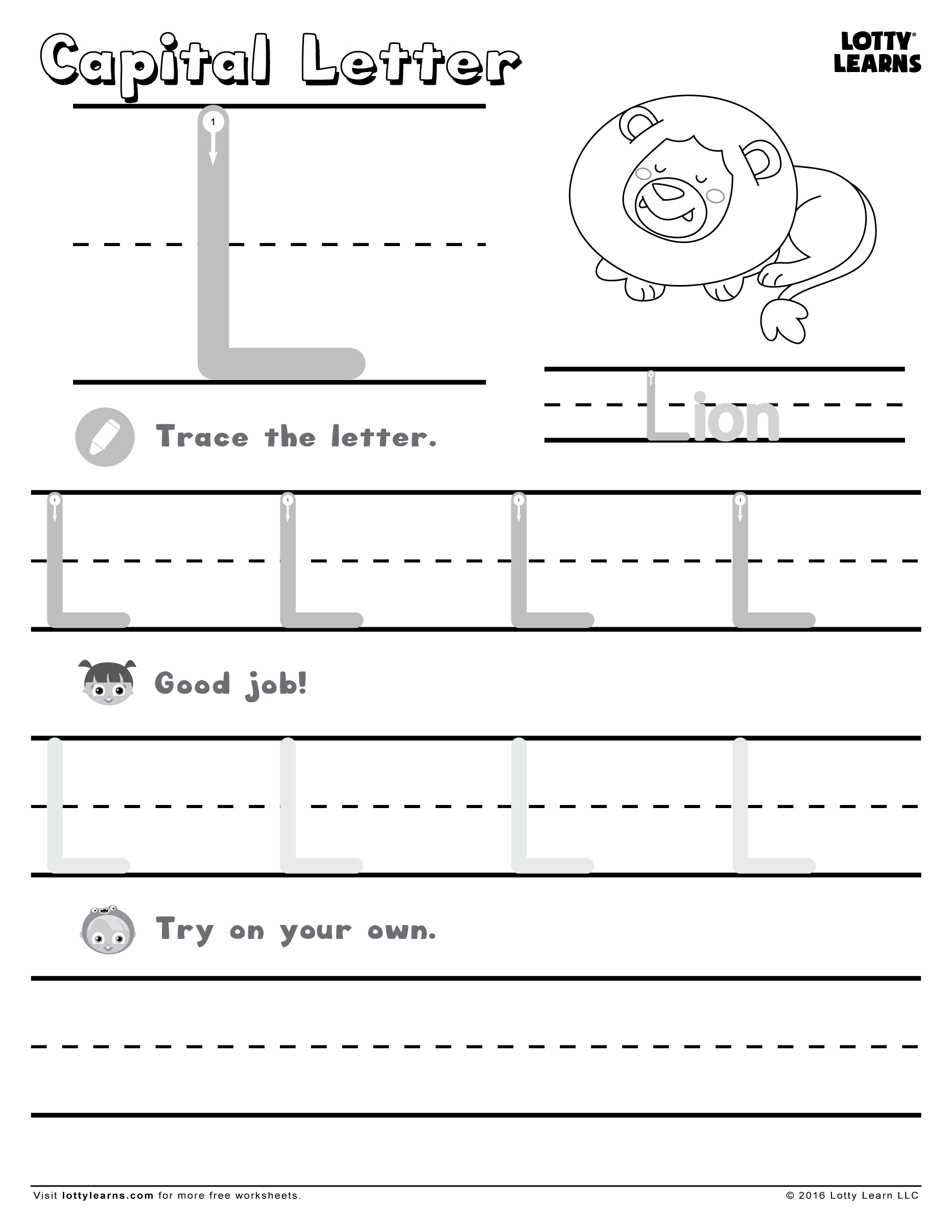 Capital Letter L | Lotty Learns with regard to Letter Ll Worksheets For Kindergarten