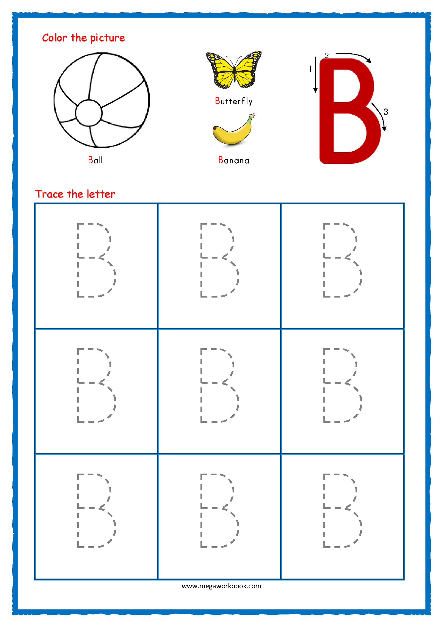 Capital_Letter_Tracing_With_Crayons_02_Alphabet_B Coloring with B Letter Worksheets