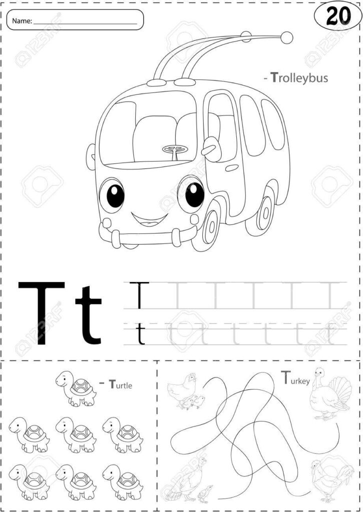 Cartoon Trolleybus, Turtle And Turkey. Alphabet Tracing Worksheet:..