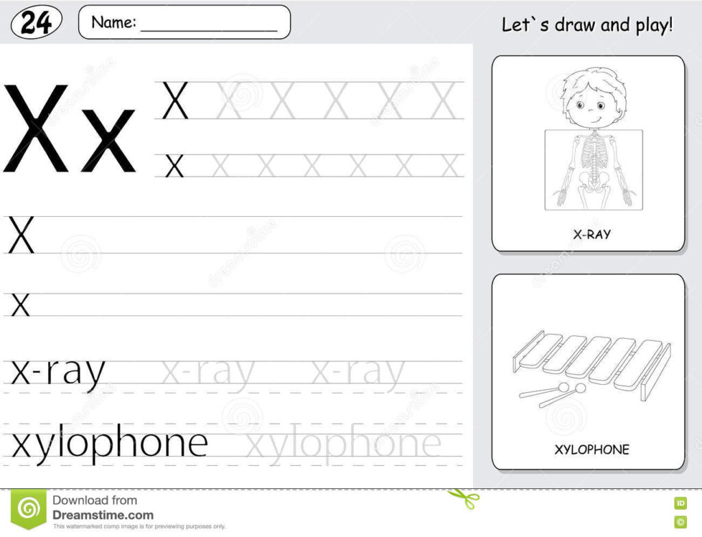 Cartoon X Ray Boy And Xylophone. Alphabet Tracing Worksheet