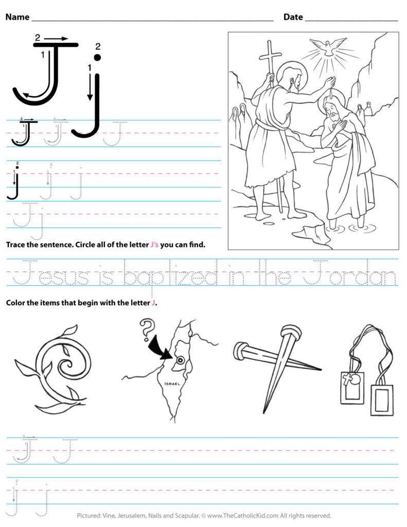 Catholic Alphabet Letter J Worksheet Preschool Kindergarten Regarding Letter J Worksheets For Kindergarten