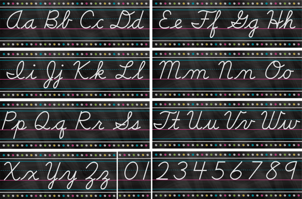 Chalkboard Brights Cursive Writing Bulletin Board Display