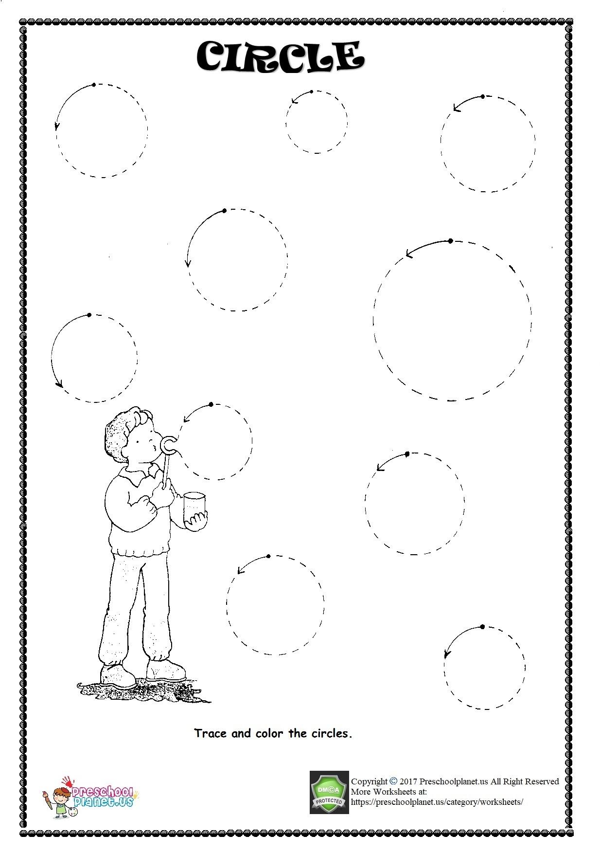 Circle Trace Worksheet – Preschoolplanet