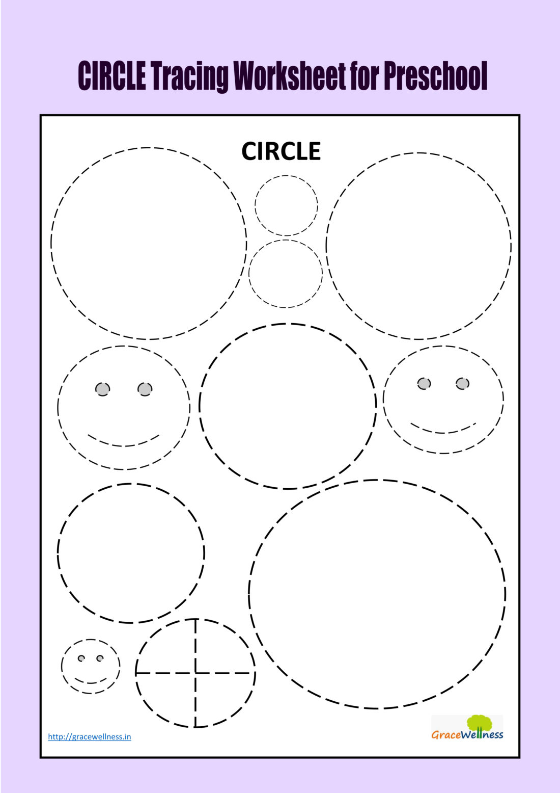 Circle Tracing Worksheet For Preschool | Trace And Color