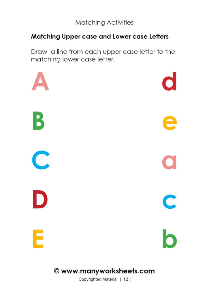 Coloring Book Matching Worksheets For Preschool Awesome Pertaining To Alphabet Matching Worksheets Printable