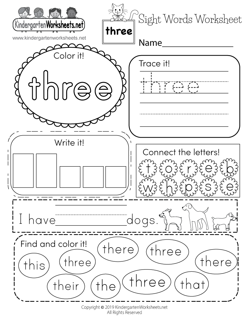 Coloring Sheet Basic Sight Words Worksheet Printable Word