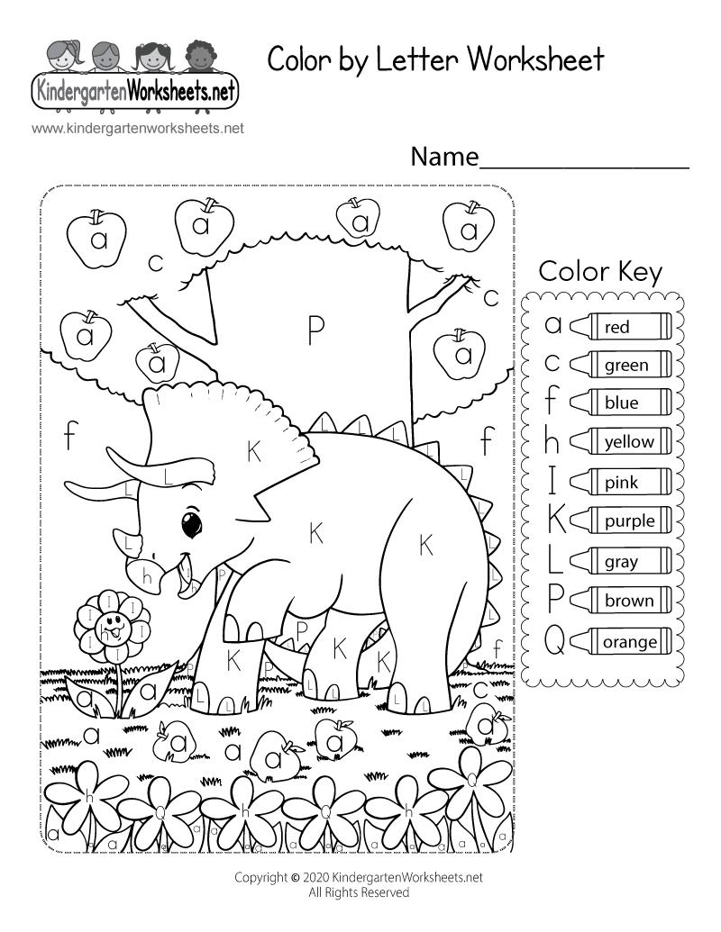Colorletter Worksheet For Kindergarten - Free Printable with Alphabet Worksheets To Color