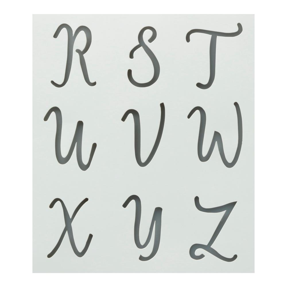 Colorshot Upper Case Cursive Alphabet Stencil (Set Of 2)
