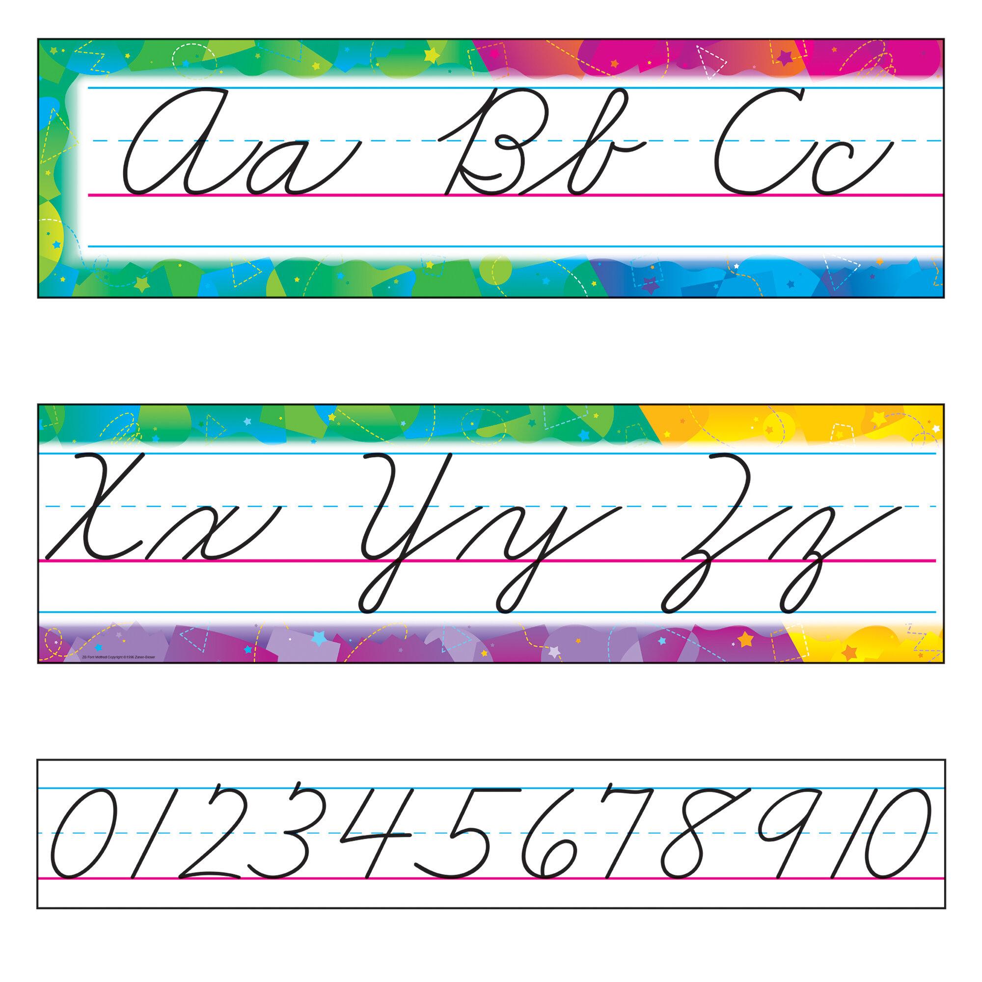 Colour Splash Alphabet Line Zaner-Bloser Cursive Bulletin Board Set