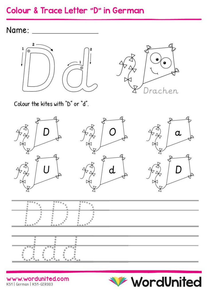 """Colour & Trace Letter """"D"""" In German   Wordunited In 2020 In Key Stage 1 Alphabet Worksheets"""