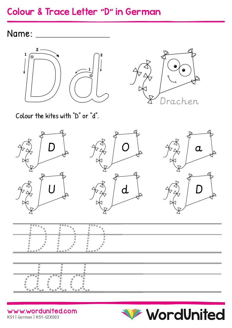 """Colour & Trace Letter """"D"""" In German - Wordunited In 2020 in Key Stage 1 Alphabet Worksheets"""