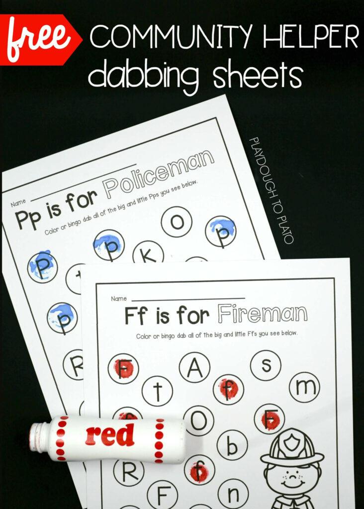 Community Helper Dab Sheets   Playdough To Plato In Alphabet Dab Worksheets