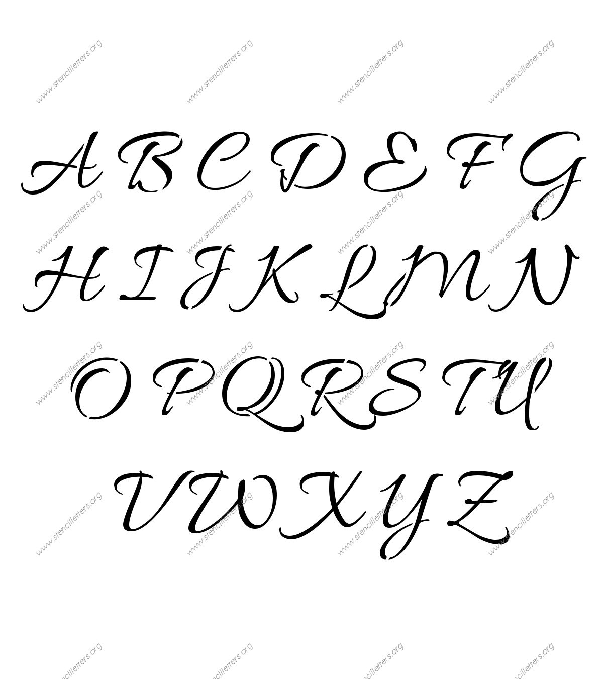 Connected Cursive Uppercase & Lowercase Letter Stencils A-Z