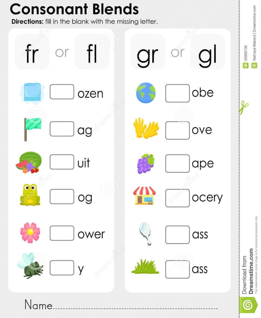 Consonant Blends : Missing Letter   Worksheet For Education With Regard To Letter Blends Worksheets