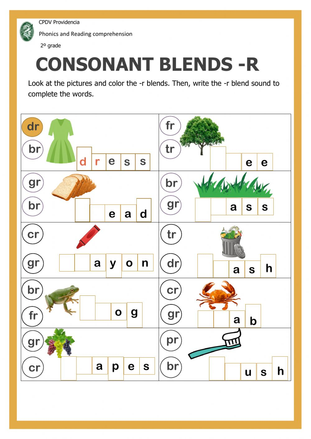 Consonant Blends With -R - Interactive Worksheet within Letter Blends Worksheets
