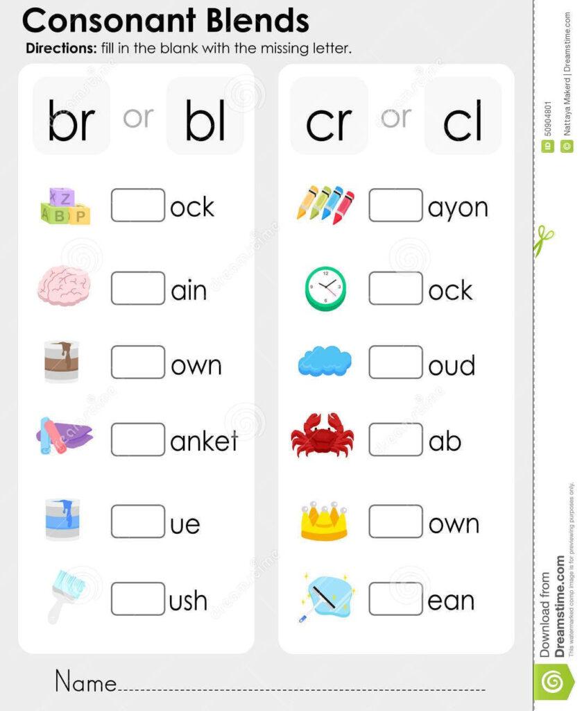 Consonant Blends Worksheets For Kindergarten   Scalien Pertaining To Alphabet Blends Worksheets