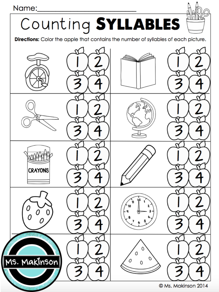 Counting Syllables   First Grade Printables For Back To Regarding Letter V Worksheets For First Grade