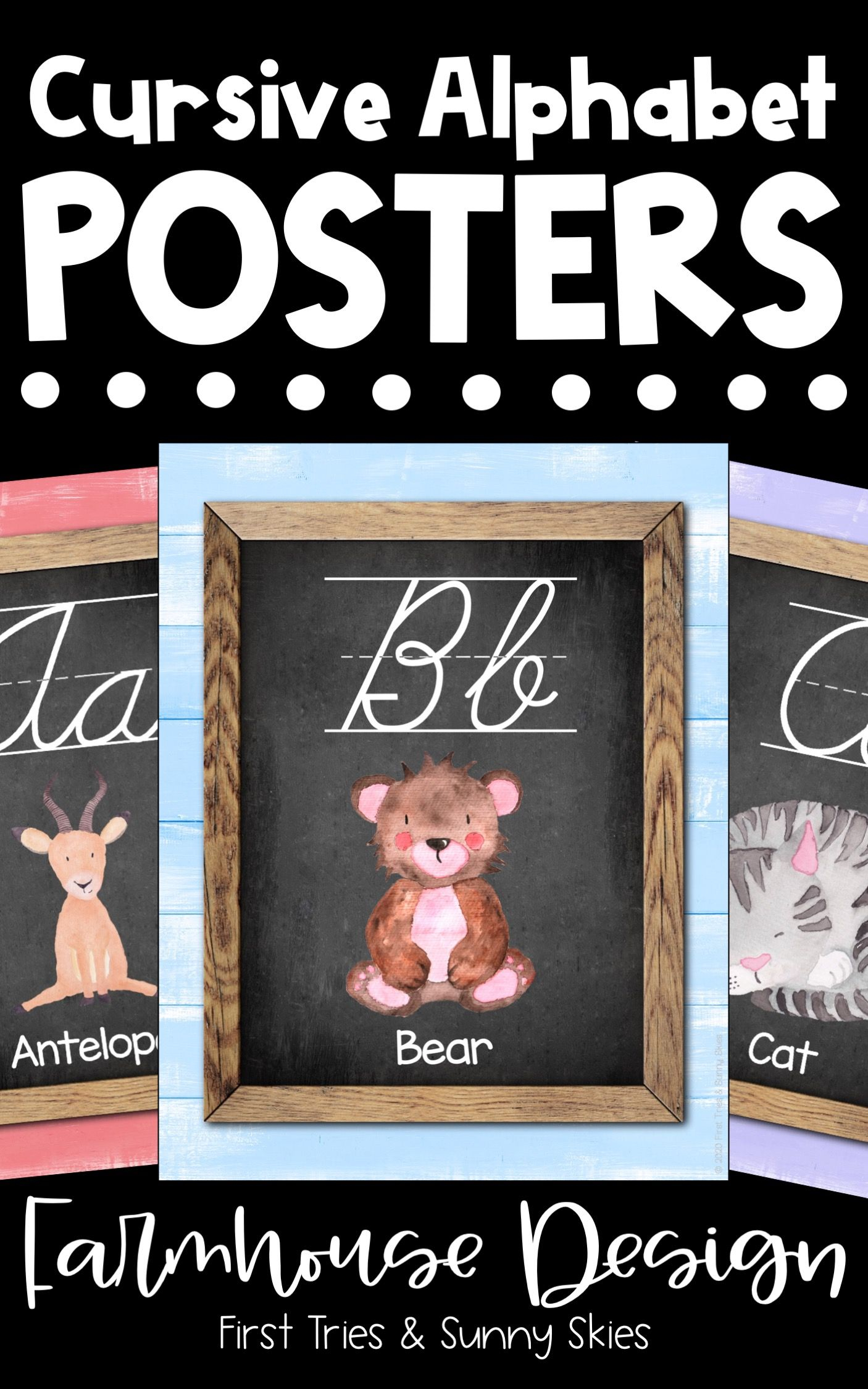 Cursive Abc Posters - Printable Alphabet Posters For