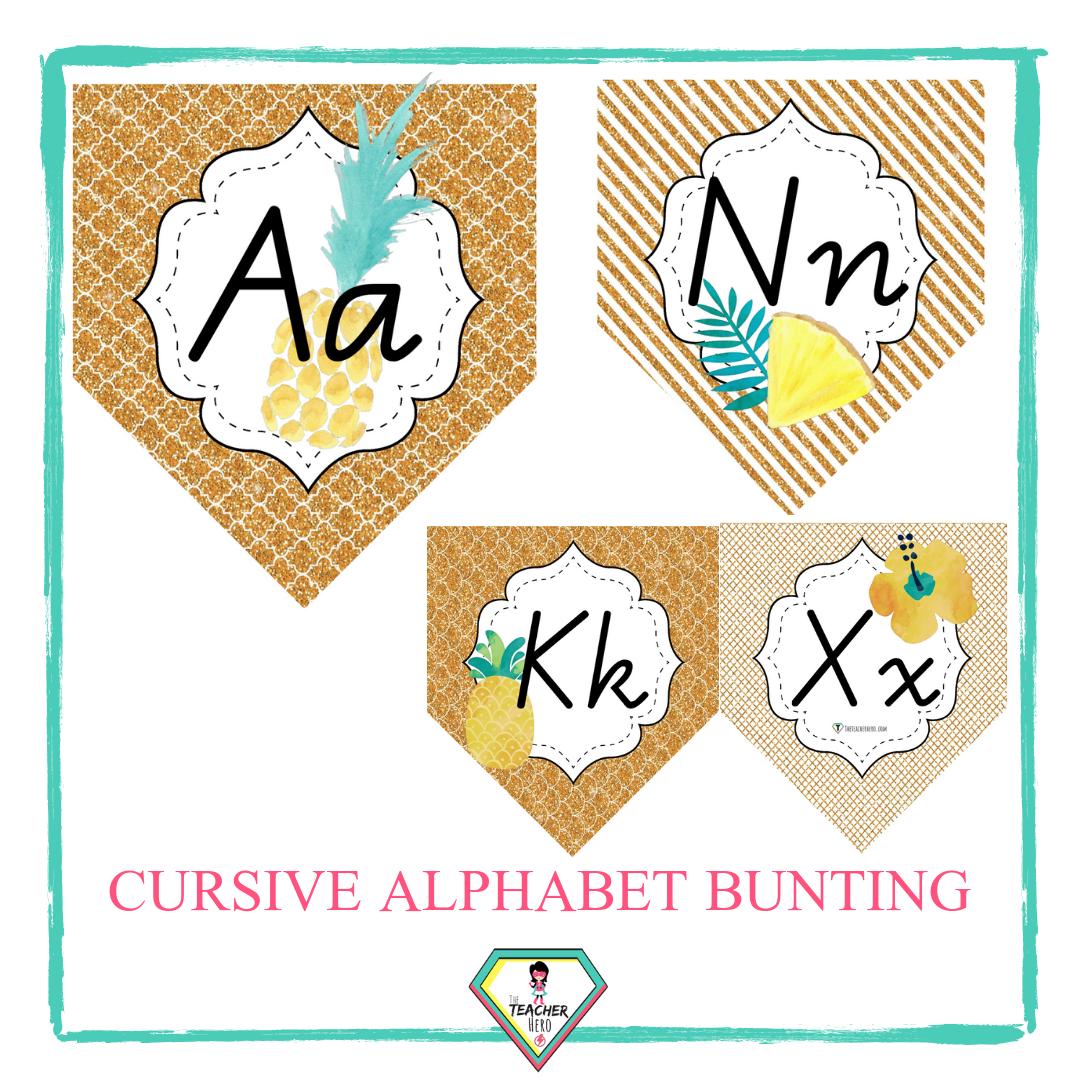 Cursive Alphabet Bunting-Gold & Pineapple Theme
