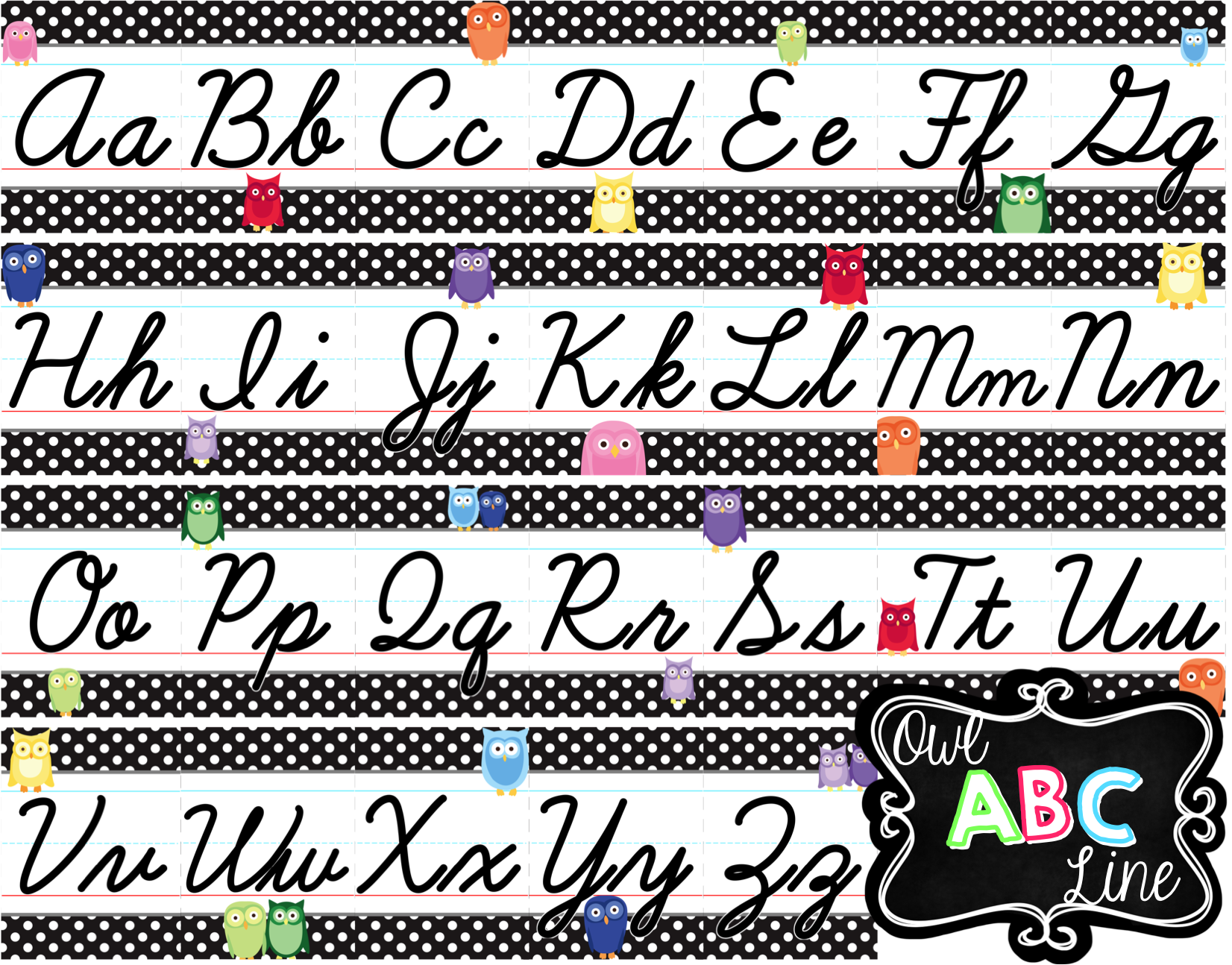 Cursive Alphabet Line - Rainbow Owl With Black & White Polka
