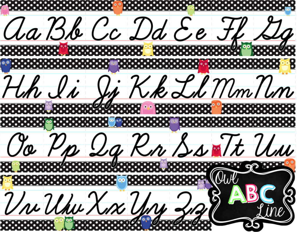 Cursive Alphabet Line   Rainbow Owl With Black & White Polka
