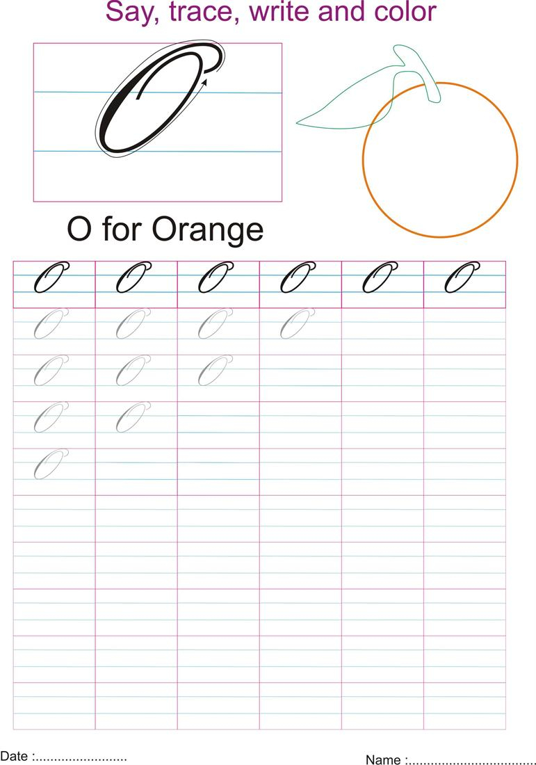 Cursive Captial Letter 'o' Worksheet