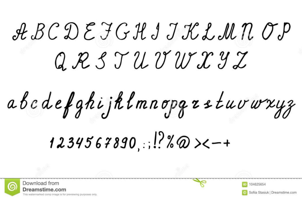 Cursive English Alphabet Letters, Numbers And Symbols. Hand