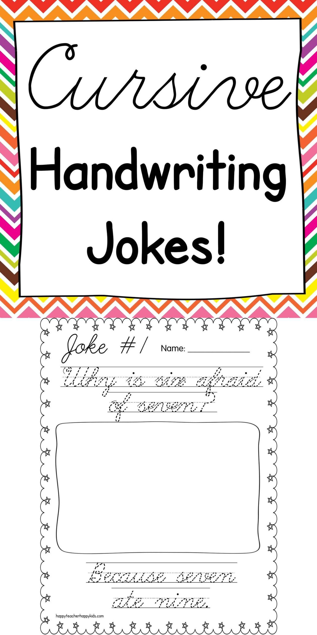 Cursive Handwriting Joke Book   Teaching Cursive, Learning