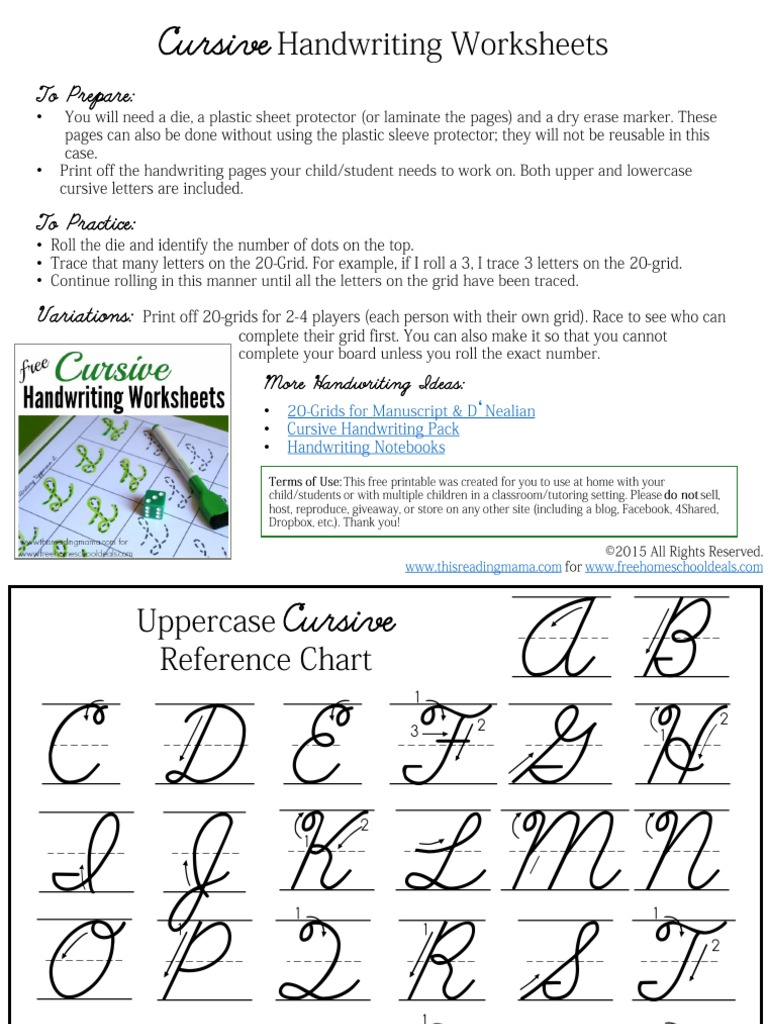 Cursive Handwriting Practice Grids Pdf Symbols Publishing