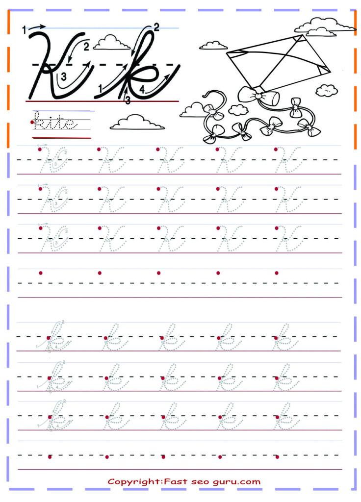 Cursive Handwriting Tracing Worksheets Letter K For Kite