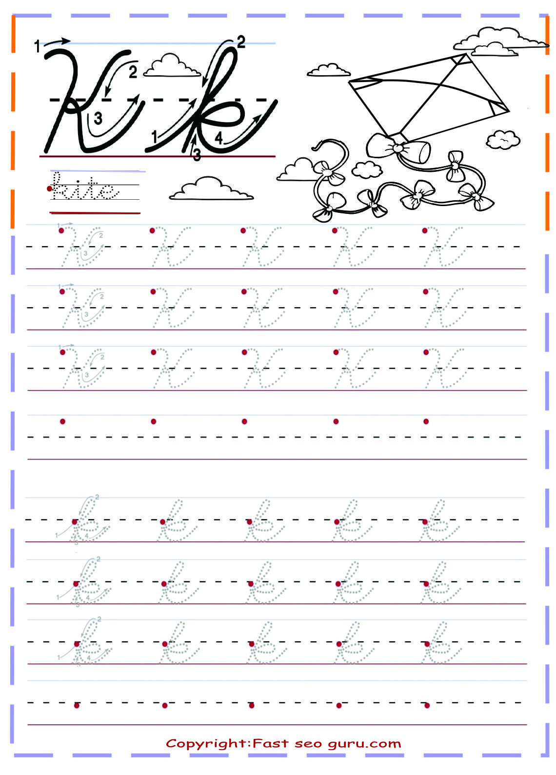 Cursive Handwriting Tracing Worksheets Letter K For Kite