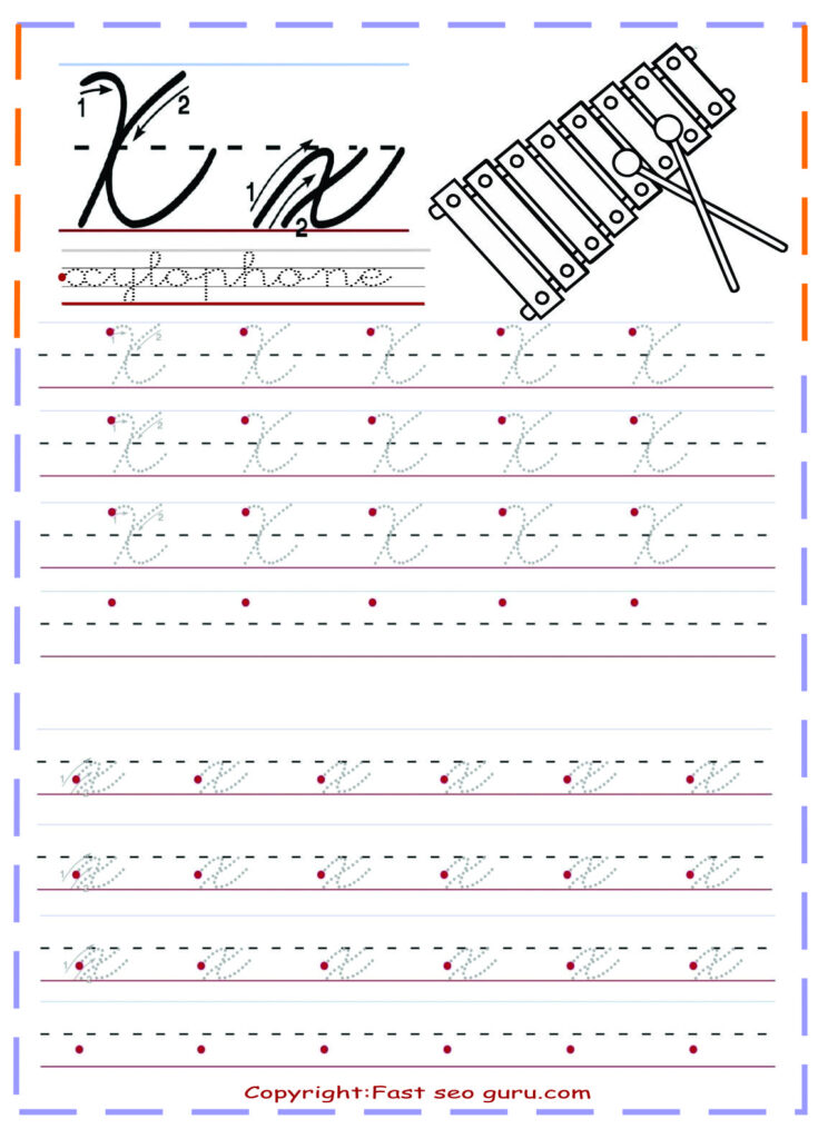 Cursive Handwriting Tracing Worksheets Letter X For