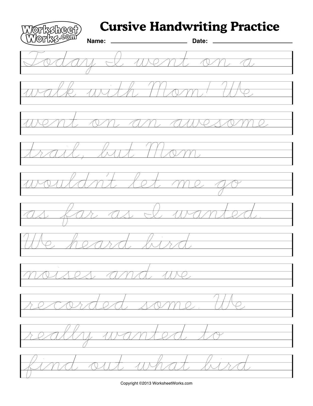 Cursive Handwriting Worksheets Writing Worksheet One Tracing