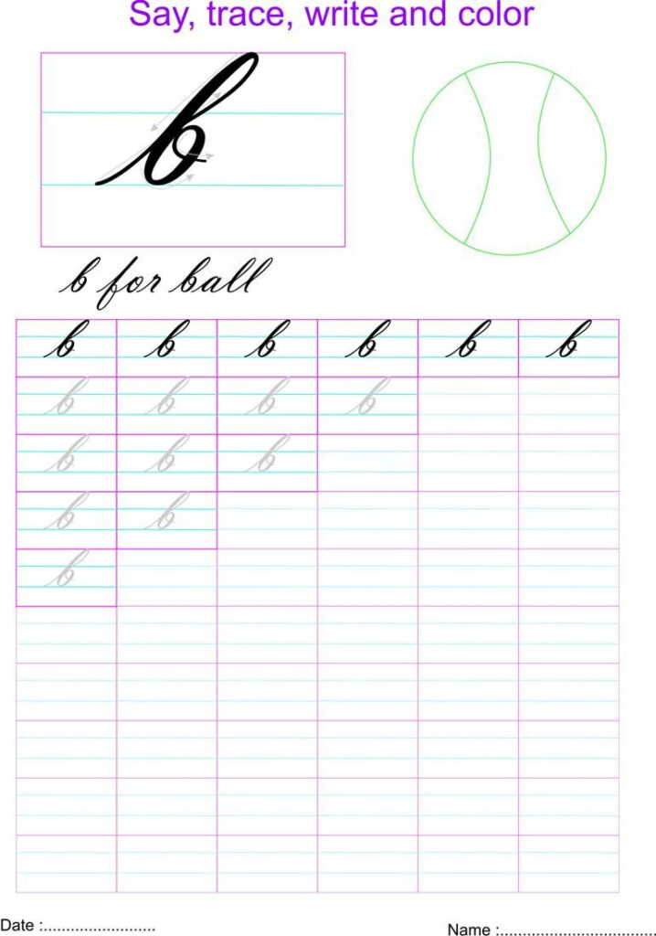 Cursive Small Letter B Worksheet | Cursive Small Letters