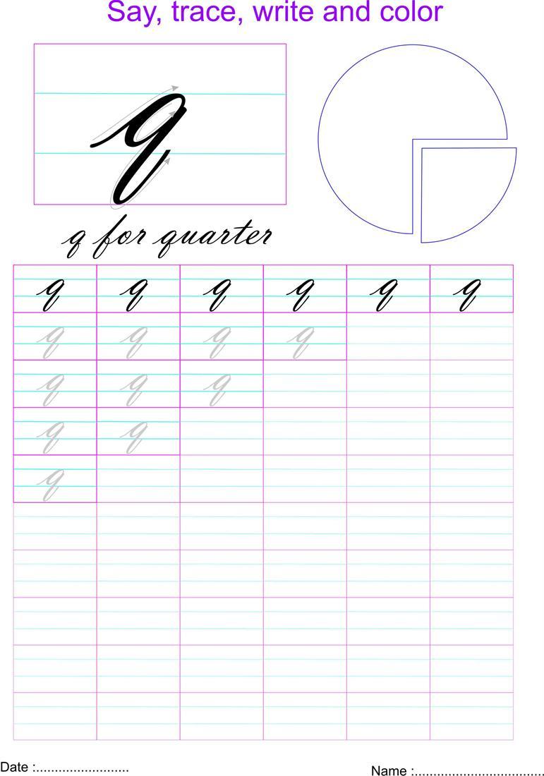 Cursive Small Letter 'q' Worksheet
