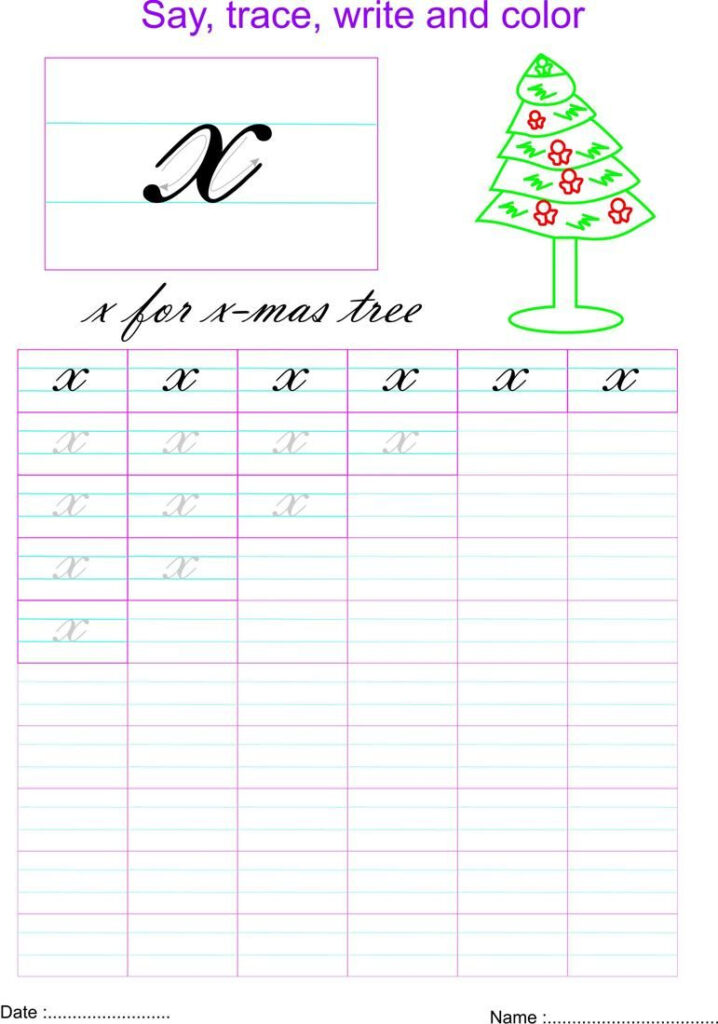 Cursive Small Letter X Worksheet   Cursive Small Letters