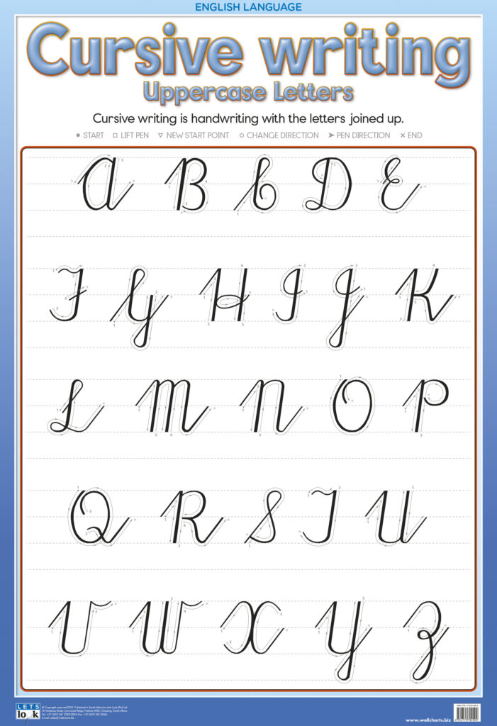 Cursive Writing Upper Case   Laminated 76Cm X 52Cm