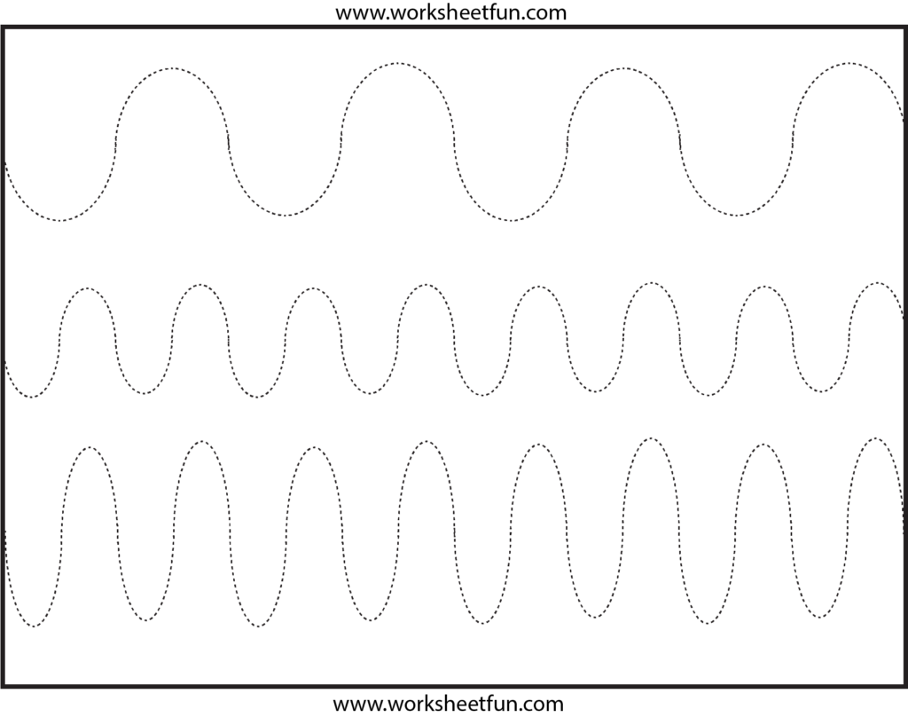 Curved Line Tracing – 4 Worksheets / Free Printable