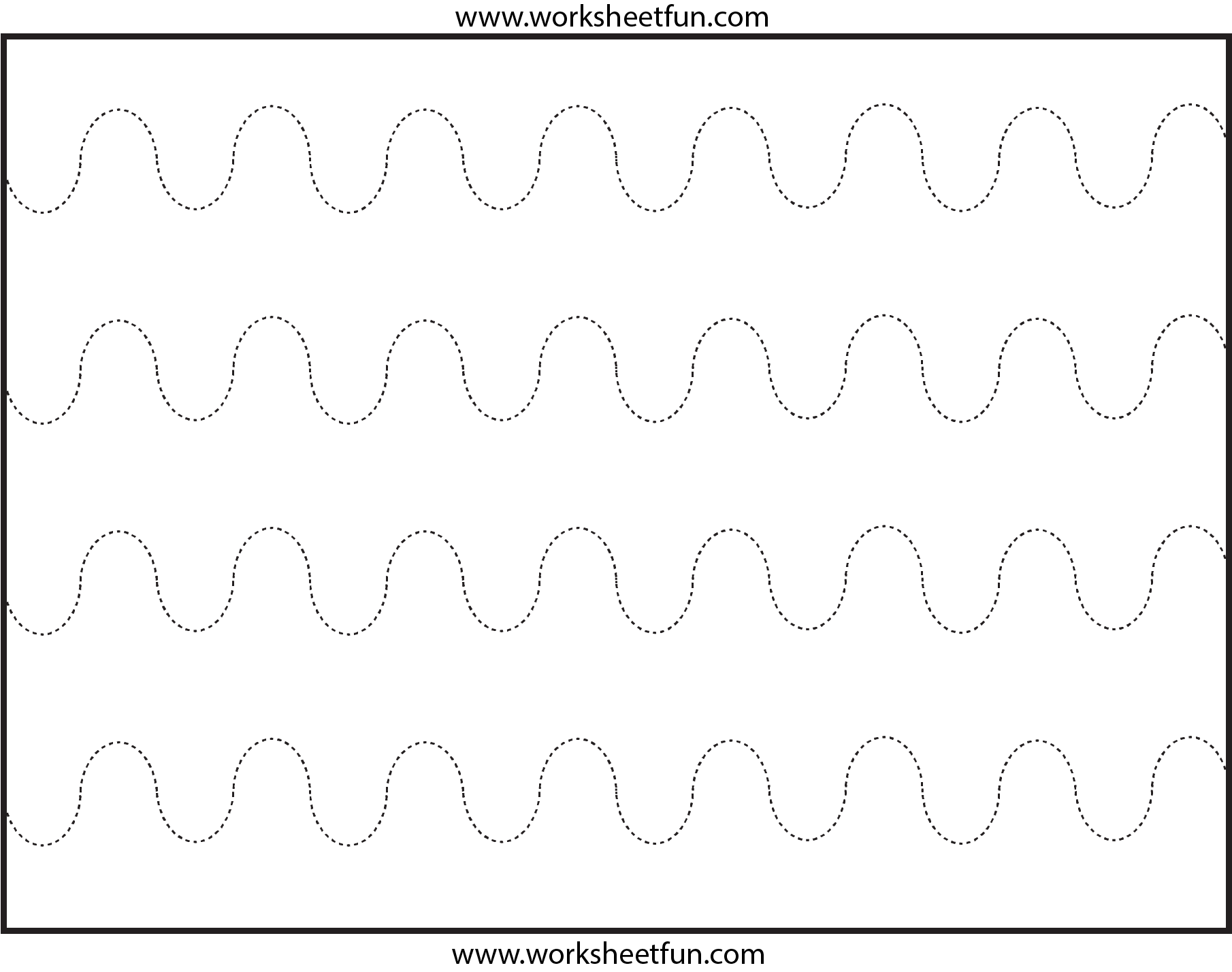 Curved Line Tracing – 4 Worksheets | Line Tracing Worksheets