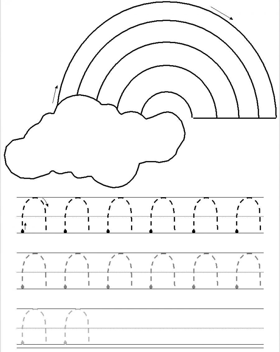 Curves Down Tracing Practice | Printing Practice, Pre