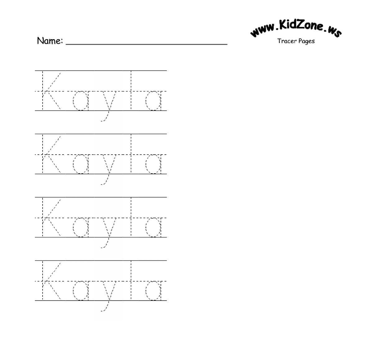 Custom Name Tracer Pages | Preschool Writing, Preschool with Name Tracing Line